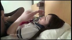 【伝説再中出し】☆S級美女 成長期おっぱいセーラー服×縞パンスト「挿れていいの?」 裏DVDサンプル画像